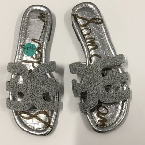 Sam Edelman Silver Beaded Bay Slide Sandals-SZ 7.5